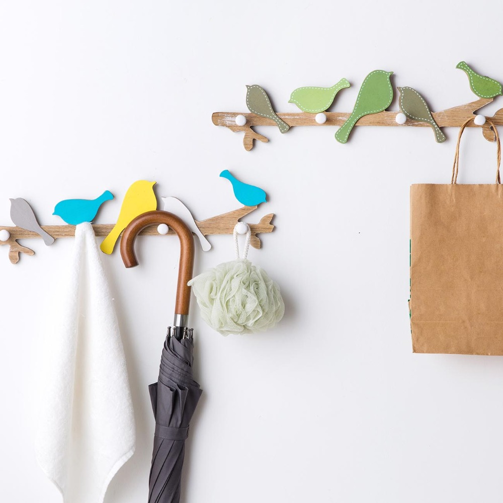 Wooden Singing Bird Wall Hanger Hooks Rack Clothes Hat Key Umbrella Organizer With 4 Hooks Kids Home Room Decorations