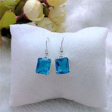 Classic Blue Crystal Geometri Zircon Dangle Earrings for Women Fashion Jewelry Wedding Brincos Engagement Statement Drop Earings