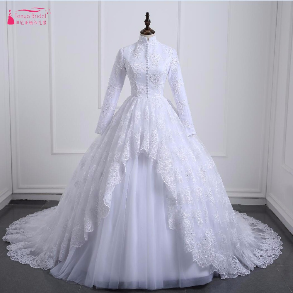 White Pure Wedding dresses 2017 Long Sleeve Lace Muslim Wedding Bridal Gowns Real photo Middles East Vestido De Noiva