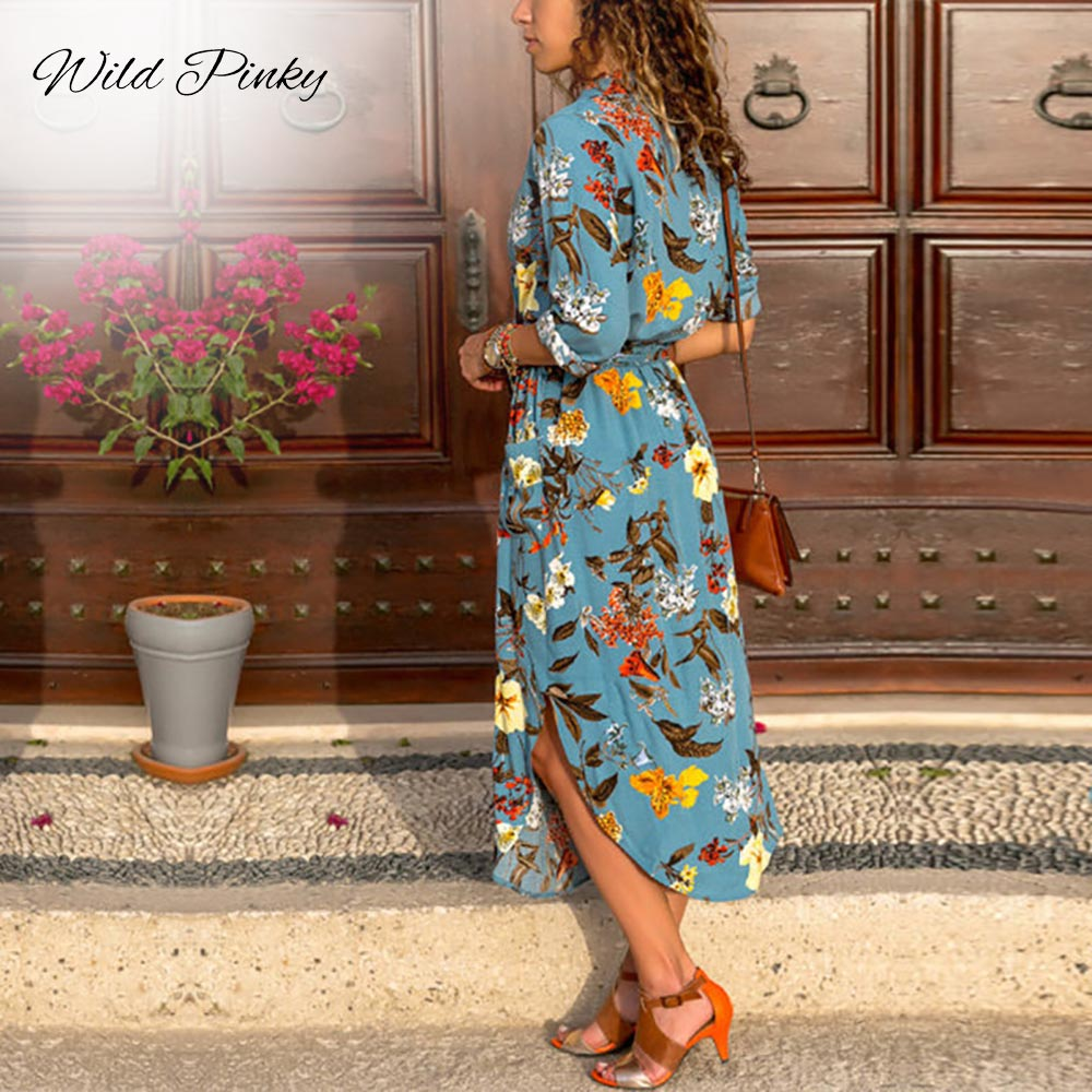 WildPinky Long Sleeve Shirt Dress 2019 Summer Boho Beach Dresses Women Casual Striped Print A line Midi Party Dress Vestidos in Dresses from Women 39 s Clothing