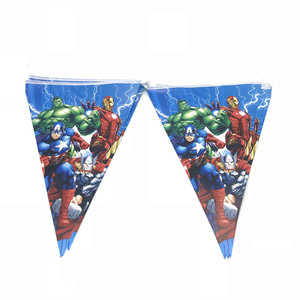 Image 4 - 100PCS/LOT 20 Person Happy Birthday Kids Disney Superhero Baby Shower Party Decoration Set Banner Straws Cups Plates Supplier