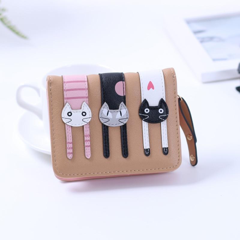 Us 6 92 5 Off 2017 Neue Design Kurze Frauen Katze Muster Brieftasche Student Mini Portemonnaie Niedliche Tier Handtasche Visitenkarte Halter