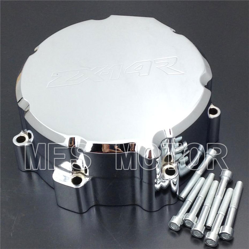 Motorcycle Part Left side Engine Stator cover For Kawasaki ZX 14R ZX14R ZZR1400 2006 2007 2008 2009 2010 2011 2012 2013 CHROME aftermarket free shipping motorcycle parts eliminator tidy tail for 2006 2007 2008 fz6 fazer 2007 2008b lack