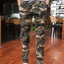 2016 New joggers males's camouflage trousers beam foot slacks elastic draw string army cargo mens pants MAPP04278