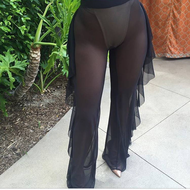 New Sexy Ruffle Women Beach Mesh Pants Sheer Wide Leg Pants Transparent See through Sea Holiday