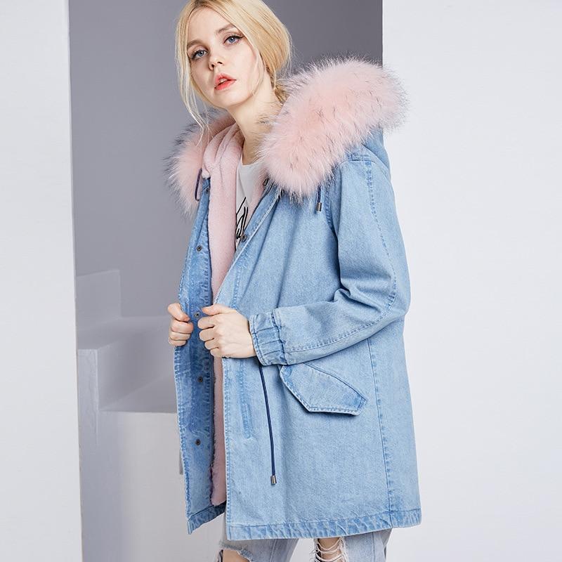 Capuchon Femmes Denim Renard Lapin Fourrure Long pink 2018 Fur Liner De Veste D'hiver Manteau Pink Doublure Naturel À Liner 100 Bleu Blue f07qXOOA