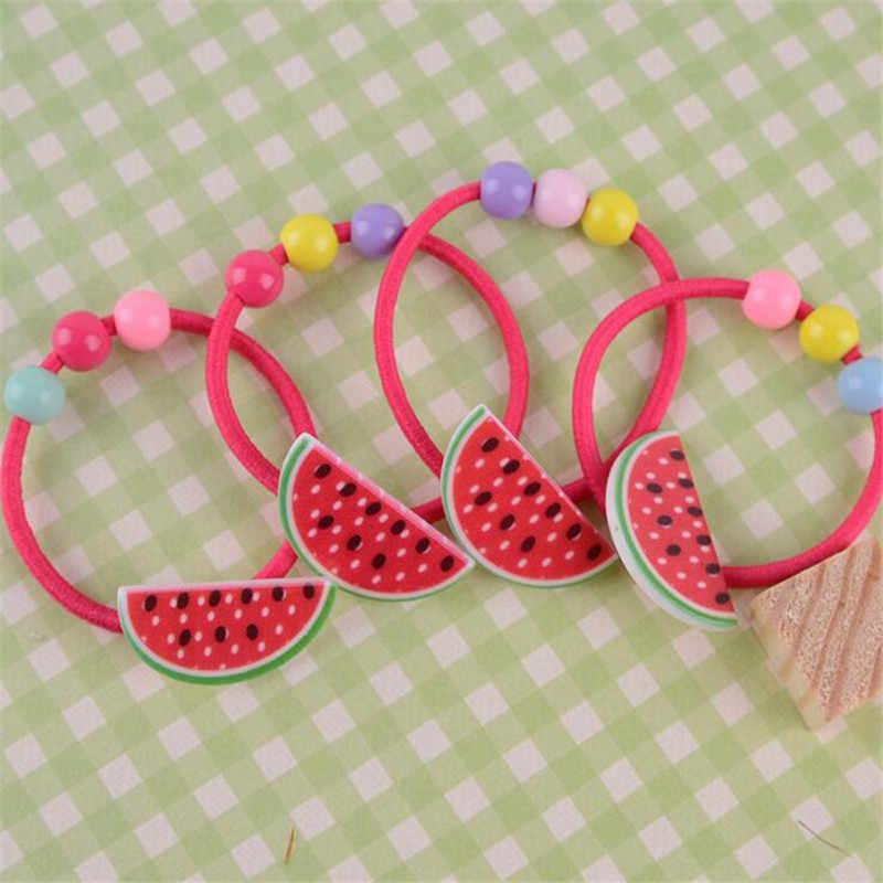 สาวผมอุปกรณ์เสริมผมวงยืดหยุ่นผมสตรอเบอร์รี่ผลไม้ Apple แหวนเชือกลูกปัด Gum ผู้ถือหางม้าเด็ก Hairband 2 ชิ้น/ล็อต