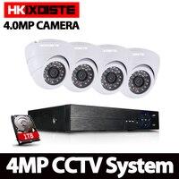 4CH AHD DVR KIT 4MP CCTV System Record 4MP HD Camera P2P Dome Indoor IR Night