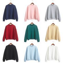 Wholesale 2019 Autumn Cute Women Hoodies Pullover 9 colors Coat Winter Loose Fleece Thick Knit Sweatshirt Female M-2XL