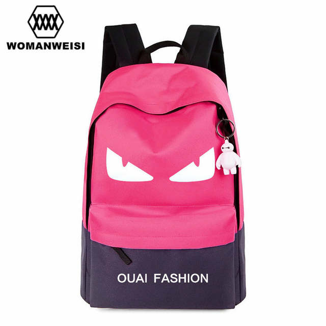 Cute Baymax Black And White Oxford Backpack For Teens Fashion Brand Anime  Women Backpack Youth School eace5025ca968