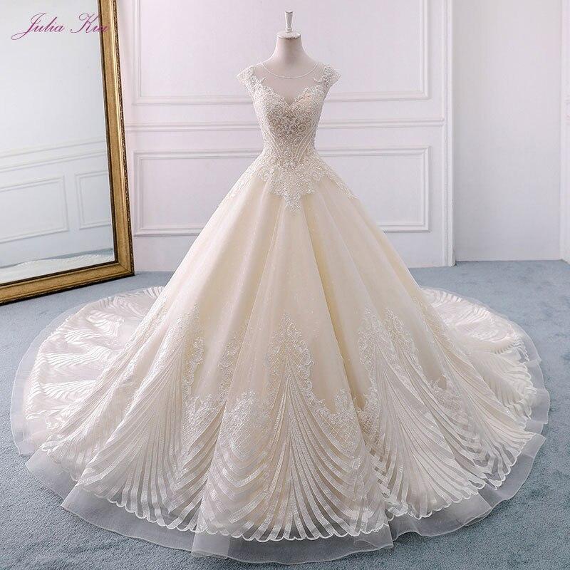 Julia Kui New Arrival Luxury Unique Appliques Lace Wedding Dress Scoop Lace Up Long Chapel Train