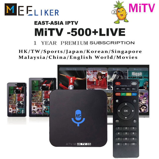 US $36 99 | With MiTV asian iptv apk 1year subscription ATV M Google Voice  TV BOX Android 6 0 Amlogic S905X 1GB 8GB for CN Malaysia JP KR-in Set-top