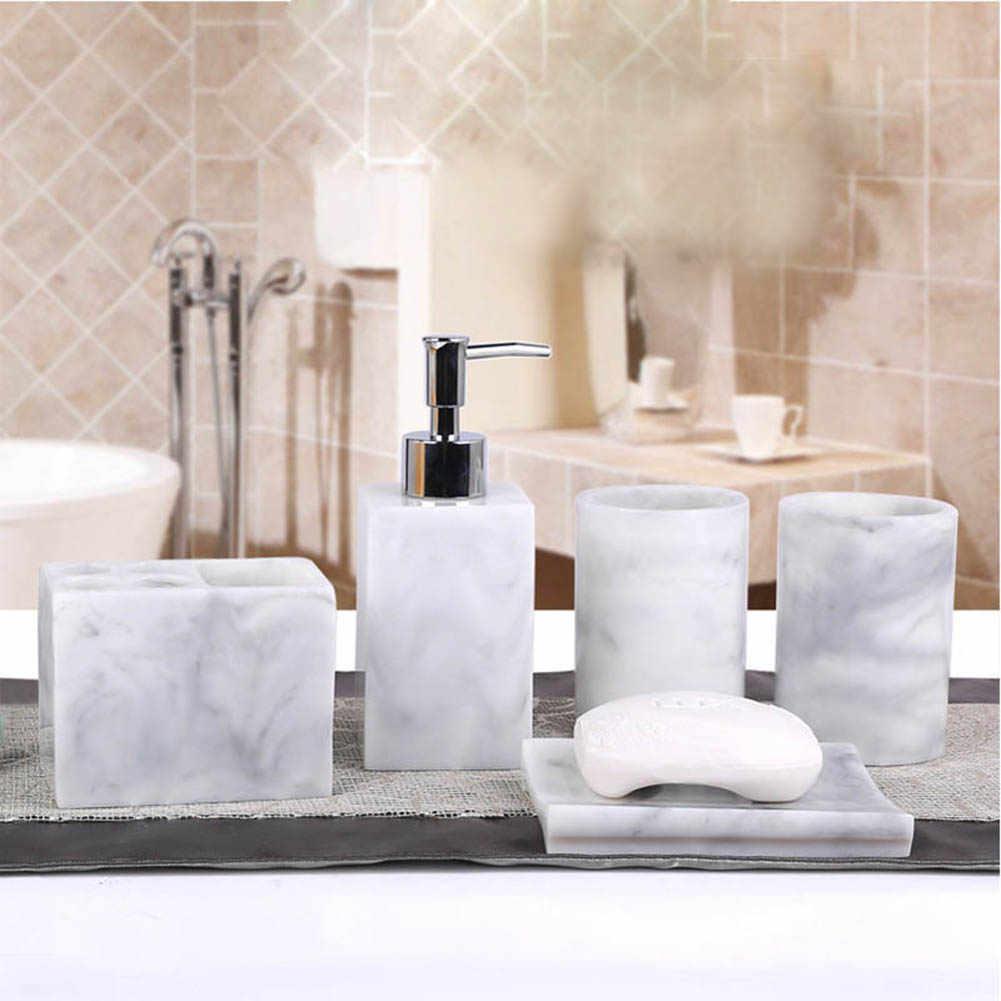 5 Pcs Resin Bath Accessories Set Lotion Dispenser With Pump