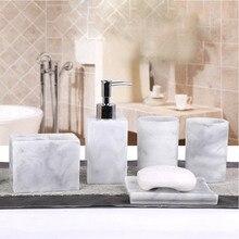 5 Pcs שרף אמבטיה אביזרי סט קרם Dispenser עם משאבה + בעל מברשת שיניים + סבון צלחת + 2 כוס סטים XH8Z