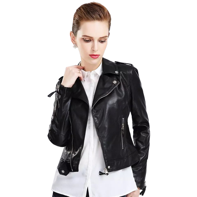Women Faux Leather Black Jackets Pu Coat Female 2018 Autumn Slim