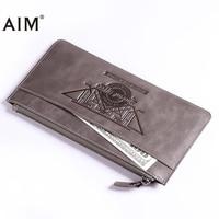 AIM Long Men Wallet High Quality Men Purse Cowhide Leather Long Wallets For Vintage Cowboy Style Clutch Men Wallets A391