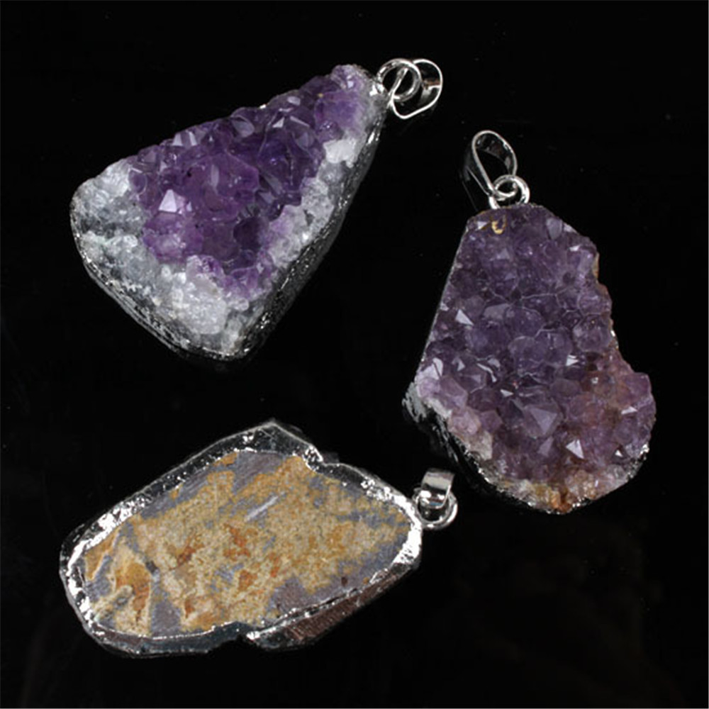 Naturlig lila Crystal Geode Quartz oregelbunden Crystal Druzy Cluster - Märkessmycken - Foto 6