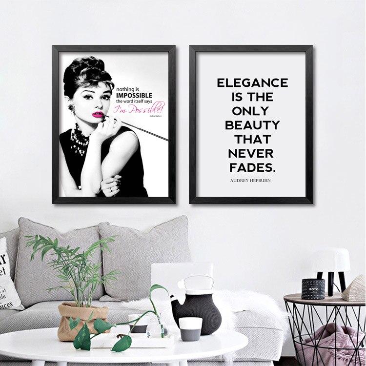 2017 Nordic Simple Black Letter Audrey Hepburn Canvas Art Print ...