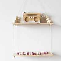 B New Baby Room double layer Wooden Beads Wall Shelf Storage Wall Decorations Bedroom Bookshelf Decor Organization Hanger