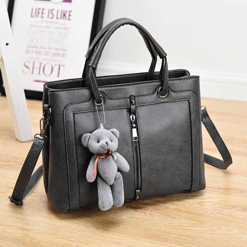 Grey PU Women Handbag Casual Shoulder Bag Ajustable Strap Crossbody Messenger pu taburete silla de oficina giratorio ajustable plegable ergonomica diseno hw51438
