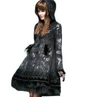 Панк Готическая Лолита бабочка стекаются Роза кнопку длинное пальто Для женщин зимние Долли милый Пальто для будущих мам черный с капюшоно
