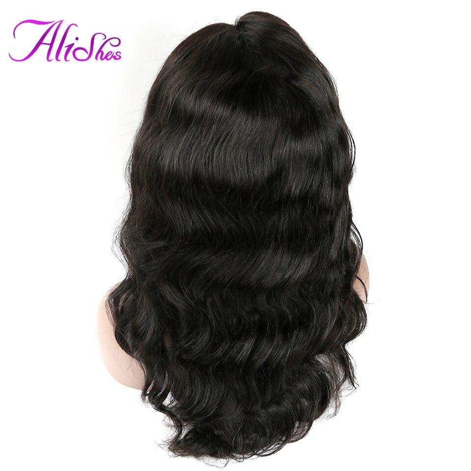 Alishes Lace Front Mänskliga Hårparycken Malaysiska Hår Kroppsvåg - Mänskligt hår (svart)