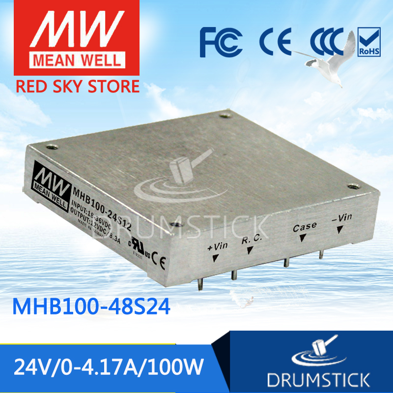 цена на MEAN WELL MHB100-48S24 24V 4.17A meanwell MHB100 24V 100W DC-DC Half-Brick Regulated Single Output Converter
