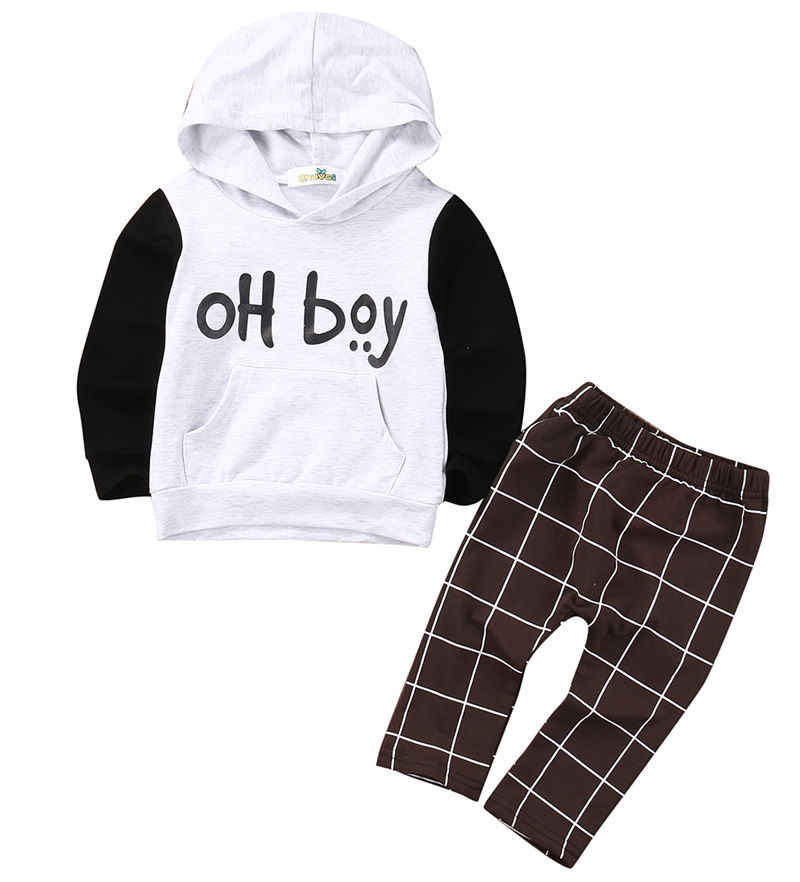2pcs Toddler Kids Baby Boy Clothes Set OH Boy Hoodies Tops Casual Pants Plaid Clothing Boys Outfits toddler boy summer cool outfit kids baby boys casual star t shirt tops harem pants 2 pcs outfits set 2 7y clothing