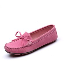 High Quality Genuine Leather Loafers Soft Suede Flats shoe Women Causal Fashion Women's Flat Spring Autumn Ballet Flats