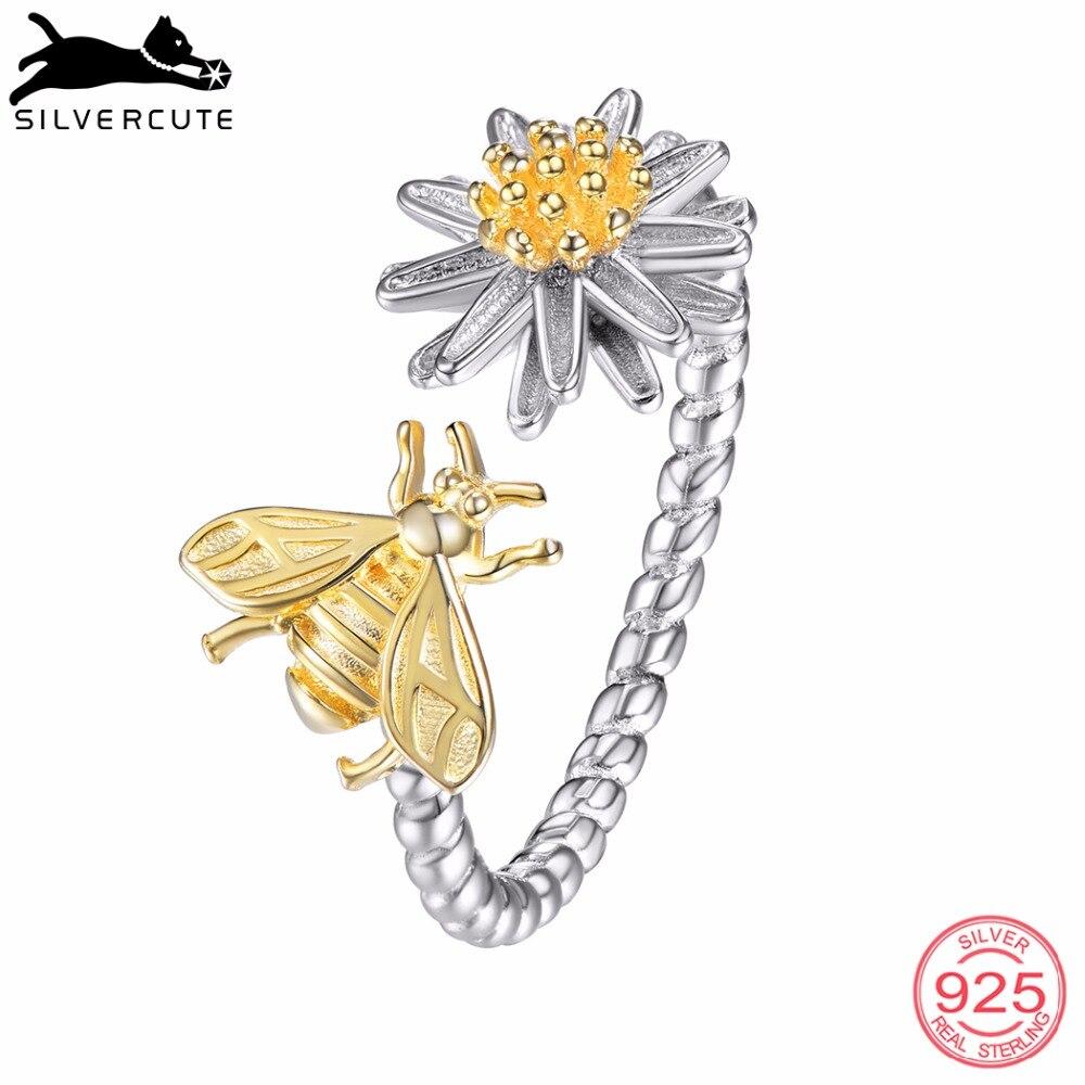 SILVERCUTE Genuine 925 Sterling Silver Daisy Flower Bee Anello Femminile di Estate Dei Monili Della Boemia Argento Animale Anelli di Barretta SCR6250BK