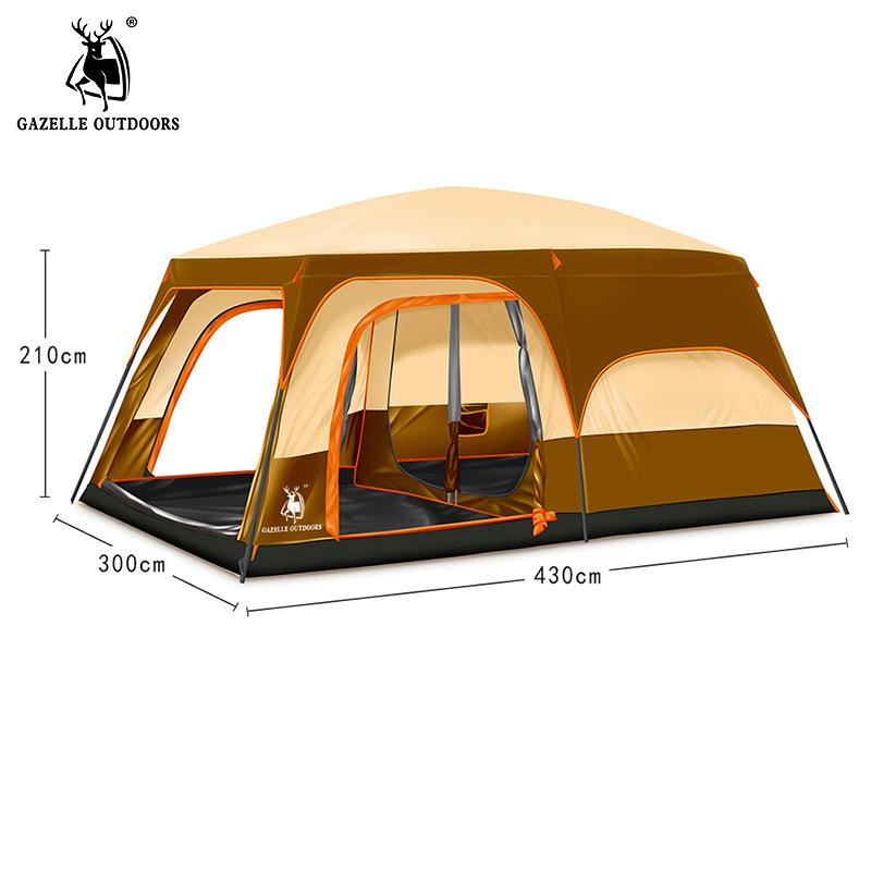 Brand Large Camping Tent Waterproof 5 8 10 Person Familly Tourist Tent Double Layers Big Outdoor Camping Hiking Beach Tent HW141 high quality outdoor 2 person camping tent double layer aluminum rod ultralight tent with snow skirt oneroad windsnow 2 plus