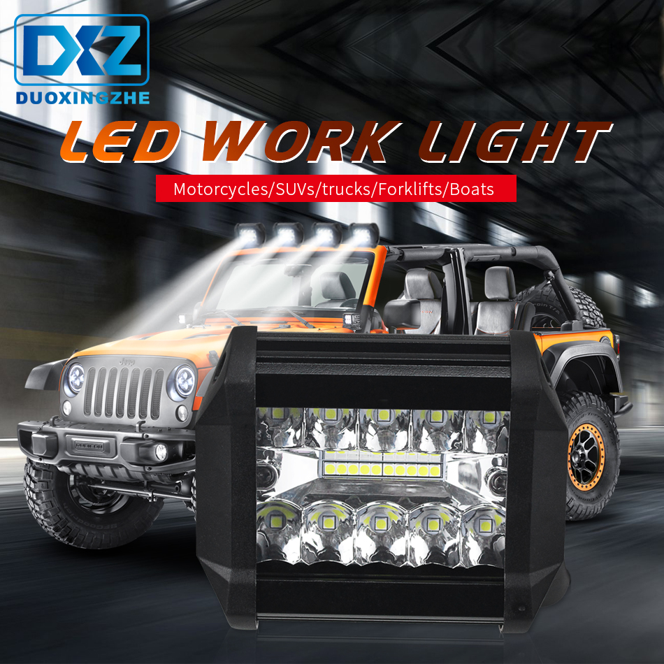 DXZ 4Inch 60W 2000LM LED Car Work Light Flood Spot Combo Driving Fog Lamps for Off-road Truck Boat