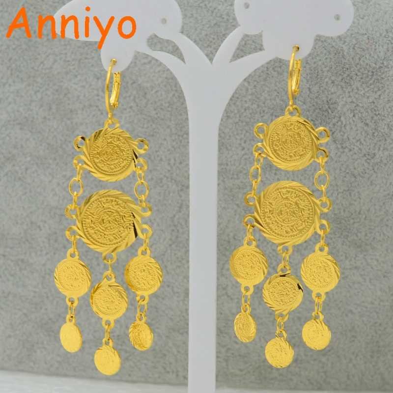 Anniyo Mteal Coin Earrings for Women Gold Color Fashion Jewelry Woman/Girl,Wholesale Earring Coins Arab Symbol of Wealth #056706