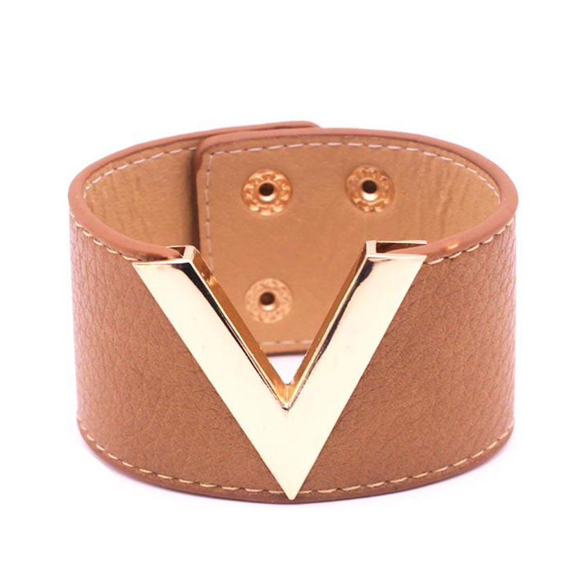 New Hand Jewelry Europe And The Big Leather Bracelet Simple All-Match MS OL V Word Wide Leather Bracelet Bangles