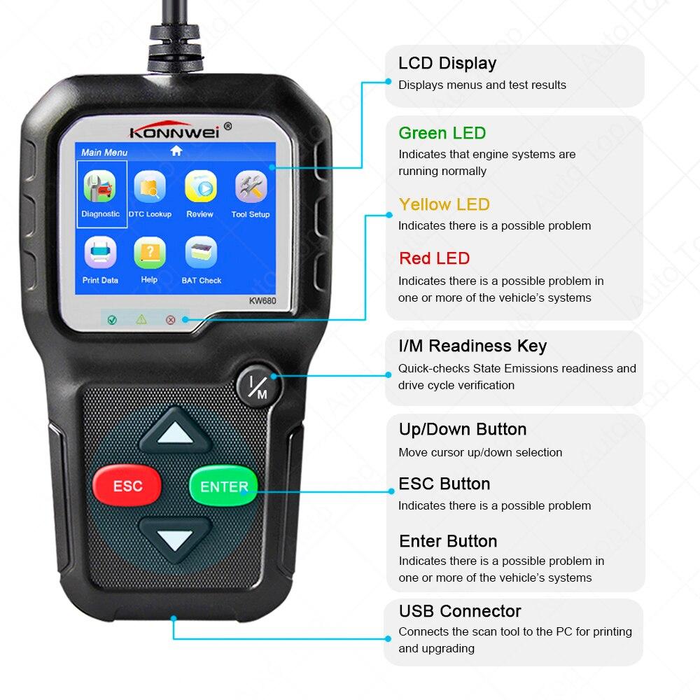 KW680 Voiture Outil De Diagnostic Complet OBD2 Fonction Multi-langue OBD 2 Autoscanner Lecteur Automobile Scanner Automotivo