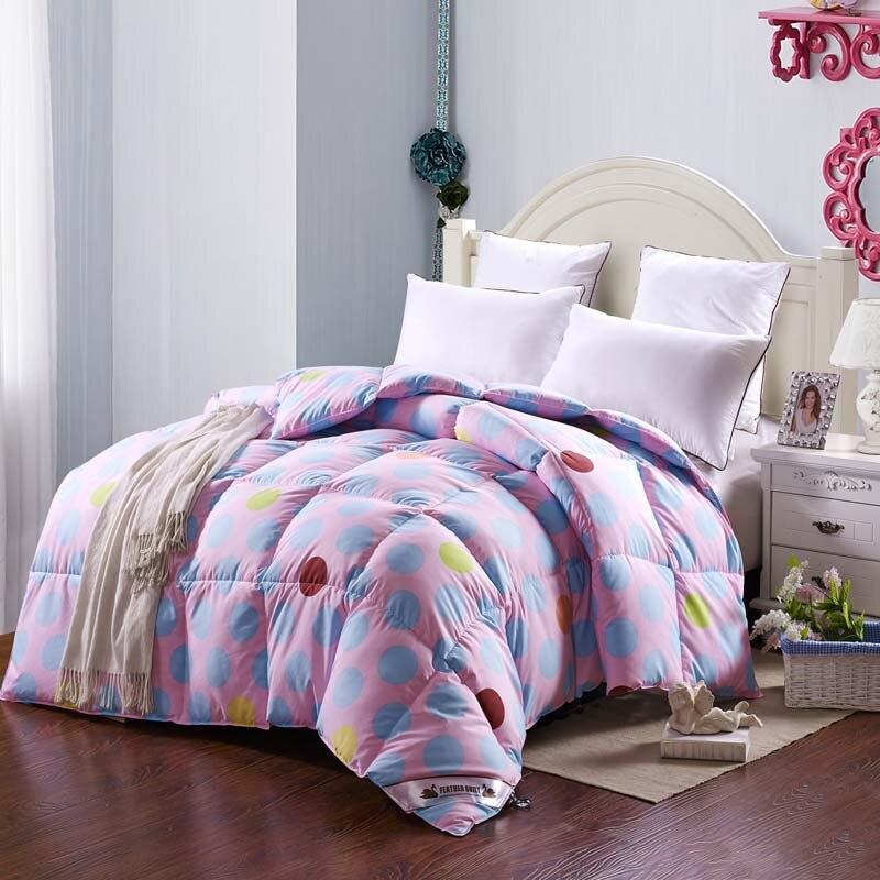 ≧95% ganso edredón doble manta acolchada color rosa colcha lecho ...