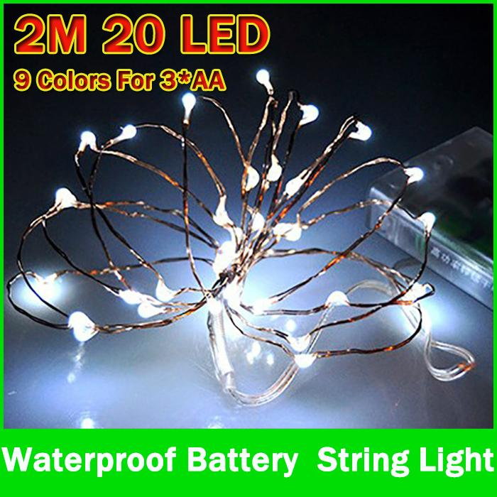 9 kolorów 2m 20LED Zasilanie bateryjne LED String Light Wodoodporny Led Fairy Lights na wesele