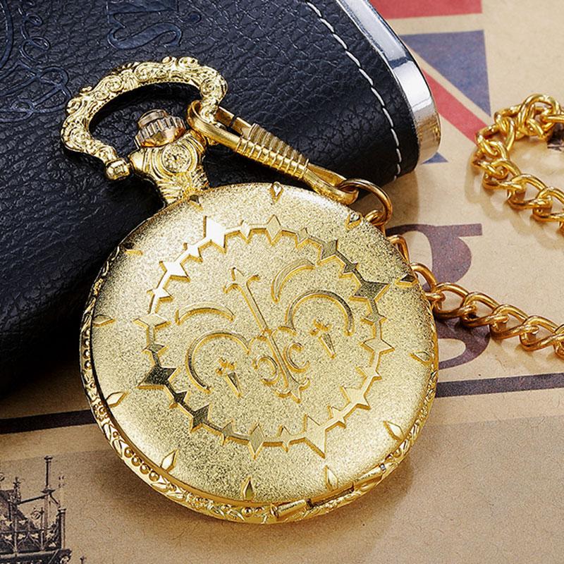Luxury Round Golden Steampunk Gearwheel  Quartz Pocket Watch With FOB Waist Chain Vintage Anime Pocket Watch Women Mens Gifts
