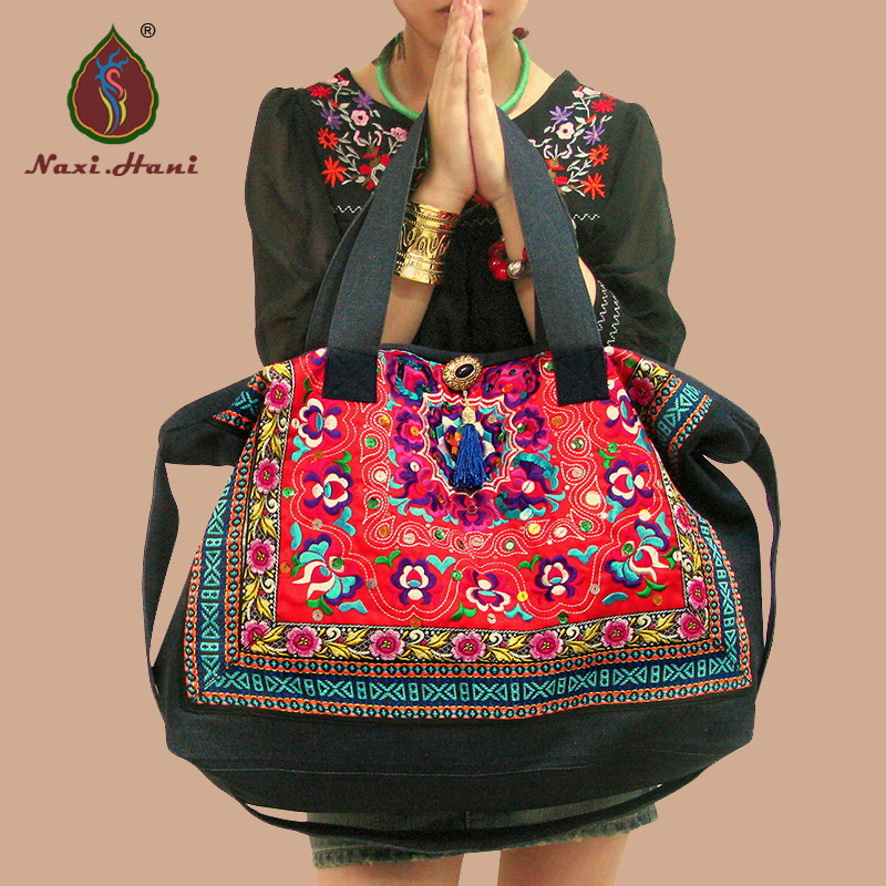 Newest Ethnic Embroidery Thick Denim Messenger Shoulder Bags Vintage Women Lagre Size Red Casual Bags