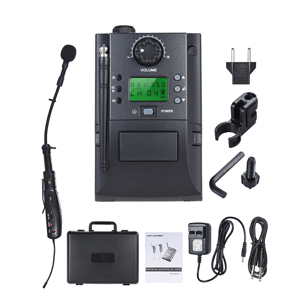 Portable UHF Instrument Wireless Microphone System with Receiver Transmitter 32 Channels for Sax Saxophone