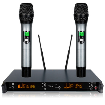 200 Channel Dual UHF Professional Wireless Microphone System Karaoke, Wedding, Conference,Evening Party, Meeting, Stage 1