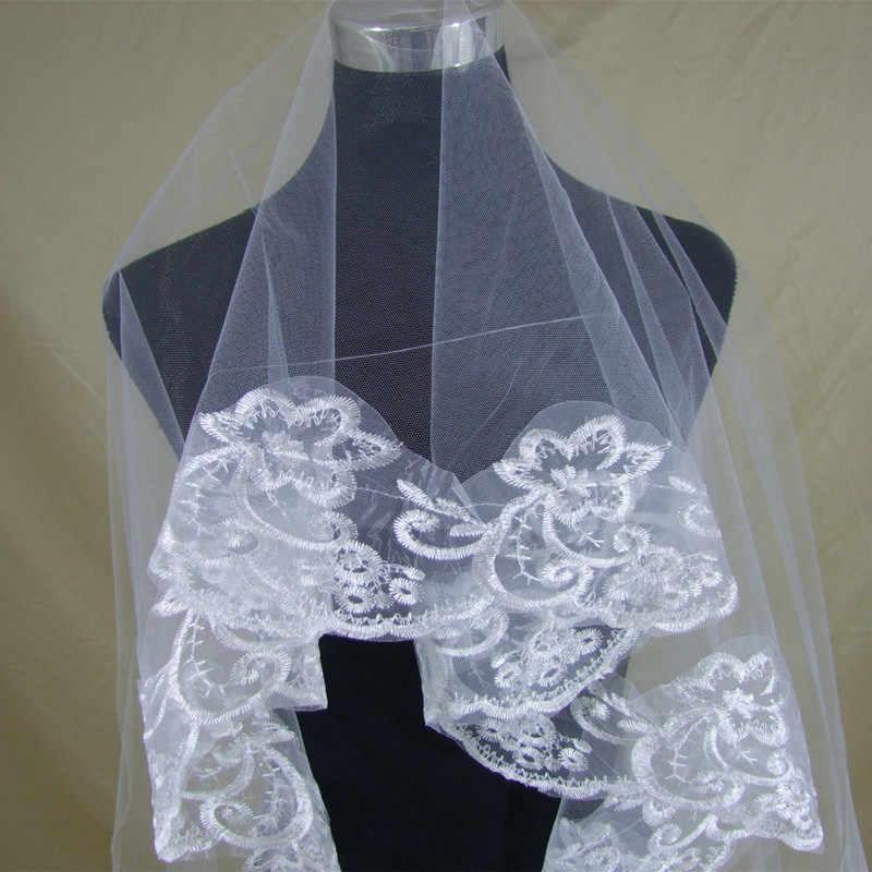 שכבה אחת התחרה Edge לבן שנהב קתדרלת חתונת רעלה ארוכה כלה רעלה