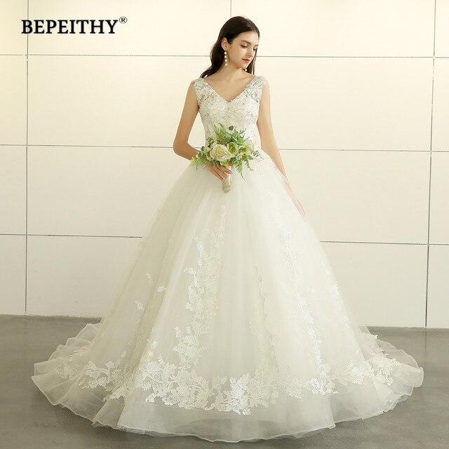BEPEITHY New Design 2019 Ball Gown Wedding Dress V Neck Vestido De Novia Court Train Lace Princess Bridal Dresses