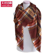 2016 Winter Autumn scarf unisex oversize blanket tartan plaid stole Designer Women Bandana Acrylic scarves shawl wrap children