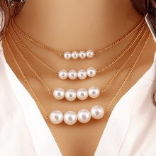 Trendy hot style multi-layer metal double-sided pearl necklace jewelry clavicle chain