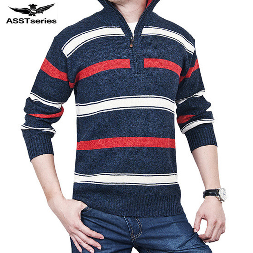 Free shipping 2017 The New Fall Winter Men thick striped sweater pullover sweater mens casual Slim size M-3XL 50hfx