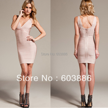 V-ausschnitt Bandage Kleid Bodycon Kleid Cocktail Party Kleid Rosa HL173 # XS S M L