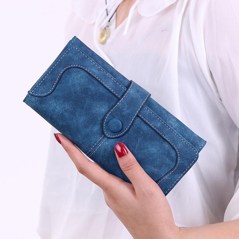 Mujeres gamuza monedero largo bolso de embrague monedero cartera femenina señora vintage teléfono bolso titular de la tarjeta negro diseño de moda femenina monedero