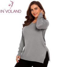 b86b74d677 IN VOLAND Women Basic Sweater Tops Plus Size L-4XL Spring Autumn Casual V-Neck  Loose Large Long Sleeve Solid Pullovers Big Size