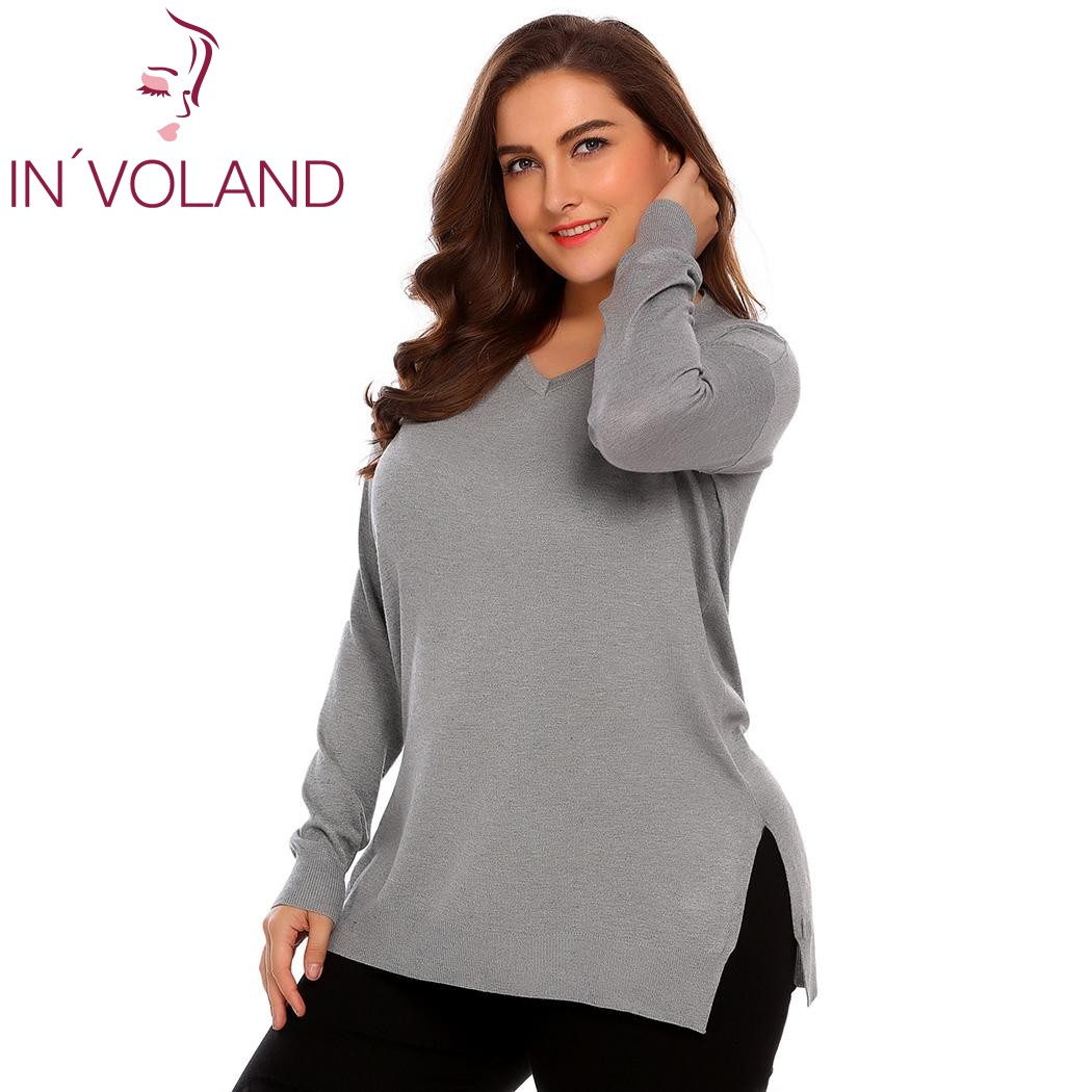 IN'VOLAND Women Basic Sweater Tops Plus Size L-4XL Spring Autumn Casual V-Neck Loose Large Long Sleeve Solid Pullovers Big Size